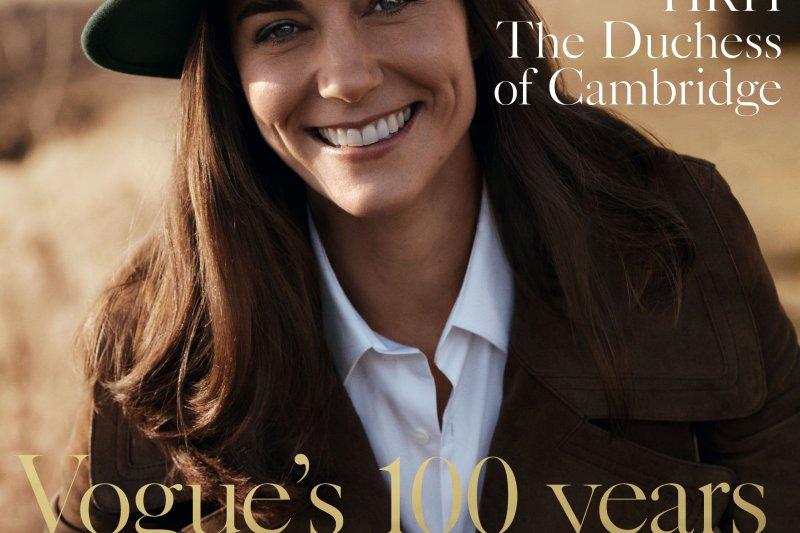 英國劍橋公爵夫人登上《Vogue》雜誌封面。(美聯社)