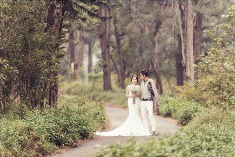 在嘉義布袋好美里黑森林取景,一片綠意中把新人放進去其實滿浪漫的!