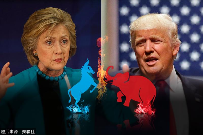 2016年的美國總統大選,希拉蕊(左)與川普(右)誰將勝出?(照片:美聯社,製圖:風傳媒)
