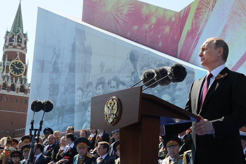普京9日在紀念衛國戰爭勝利71周年的閱兵式上發表演說。