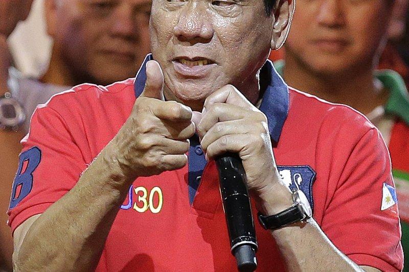菲律賓新任總統當選人杜特蒂。(美聯社)
