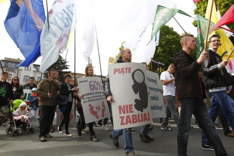 波蘭的反墮胎人士15日走上街頭,要求政府更加嚴格限制墮胎。(翻攝推特)