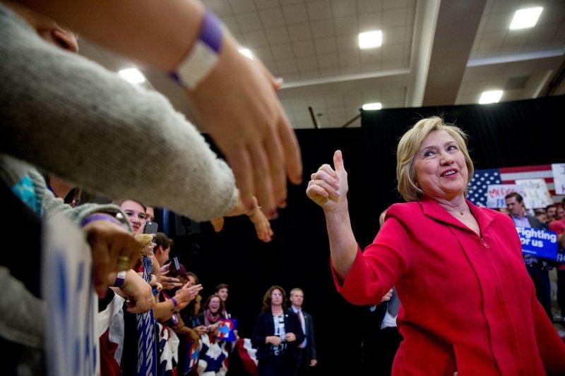 美國民主黨總統參選人希拉蕊.柯林頓16日於肯塔基州(美聯社)