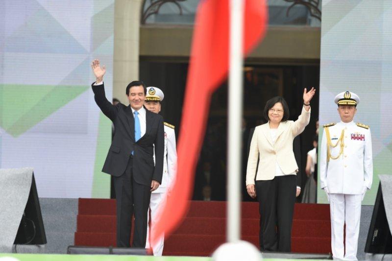 第14任總統副總統就職典禮,前總統馬英九與總統蔡英文。(台北市攝影記者聯誼會提供)