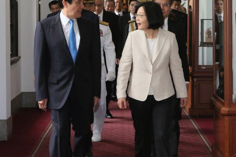 蔡英文總統就職典禮,前後任總統馬英九與蔡英文(台北市攝影記者聯誼會)