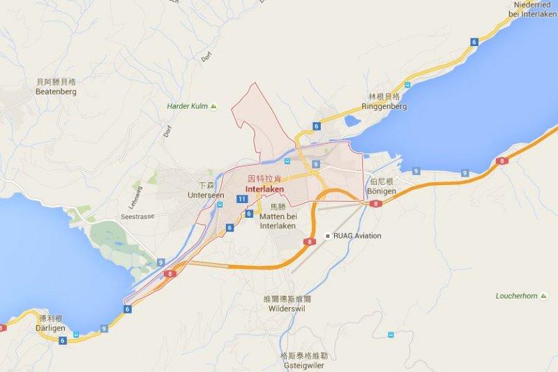 台灣旅行團在茵特拉根因發生嚴重車禍,目前仍有2人留院治療。(取自Google Map)