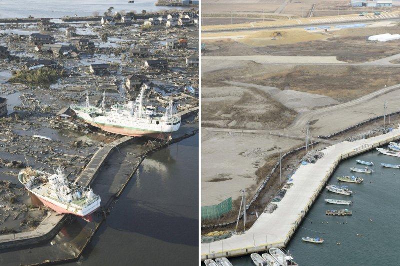 日本311震災後5周年,這是2011年3月12日(左)和2016年3月3日拍攝的日本宮城縣東松島市的拼版照片。(新華社)