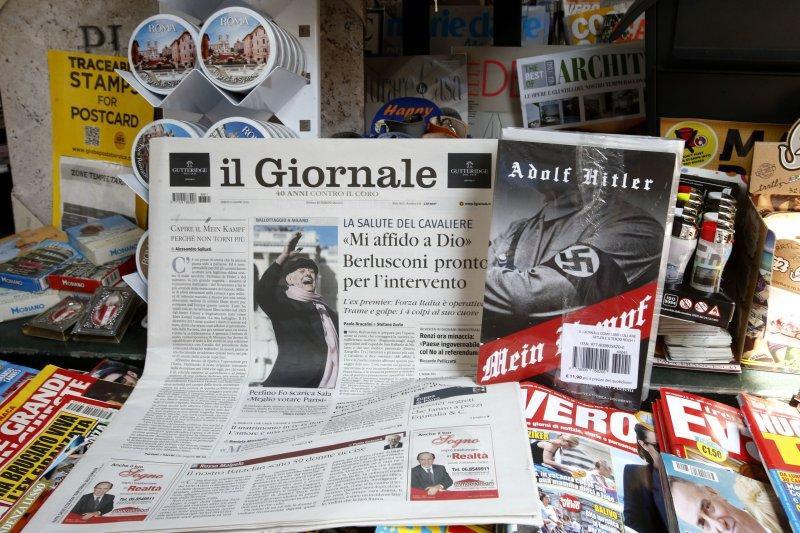 光復高中扮演納粹引發軒然大波,2016年月初,義大利小報《新聞報》(Il Giornale)免費贈送新版希特勒自傳《我的奮鬥》,引發抗議。(美聯社)