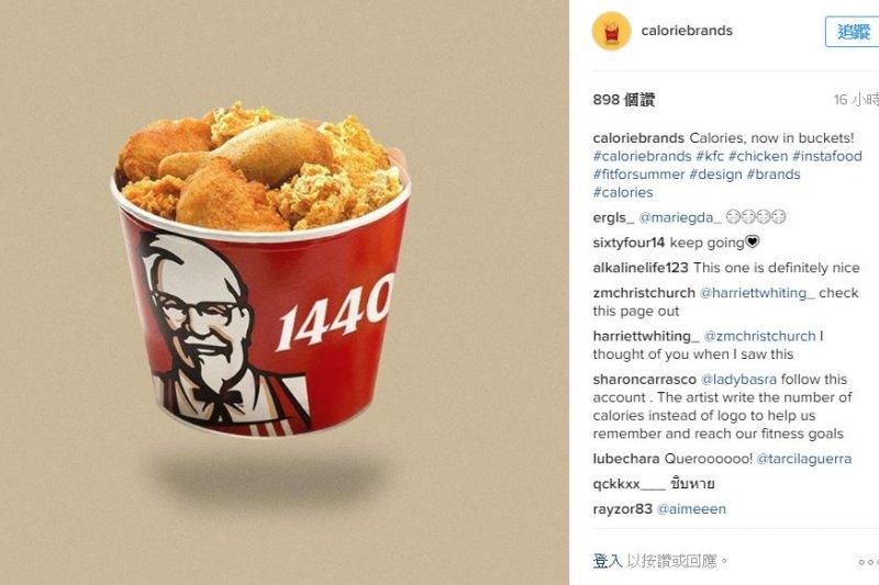 Instagram 上的「caloriebrands」清楚標示食物熱量,馬上吸引4萬多名跟隨者。(取自caloriebrands頁面)