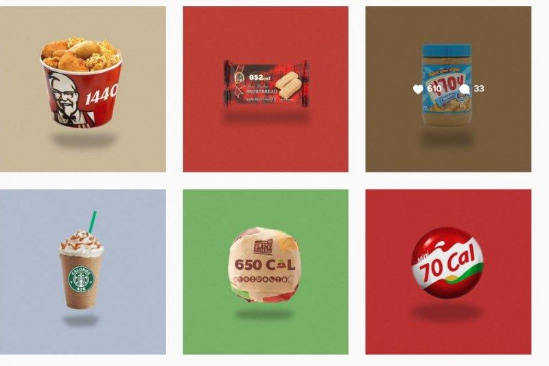 Instagram 上的「caloriebrands」清楚標示食物熱量,馬上吸引4萬多名跟隨者。(取自:Instagram)