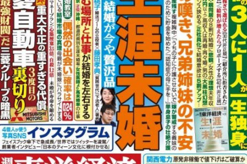 《東洋經濟》2016年5月號,講述日本未婚民眾比率漸趨嚴峻的情況。