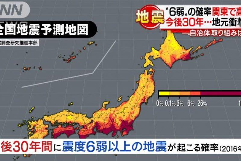 日本太平洋側未來發生震度6弱以上地震的比率偏高。(翻攝影片)