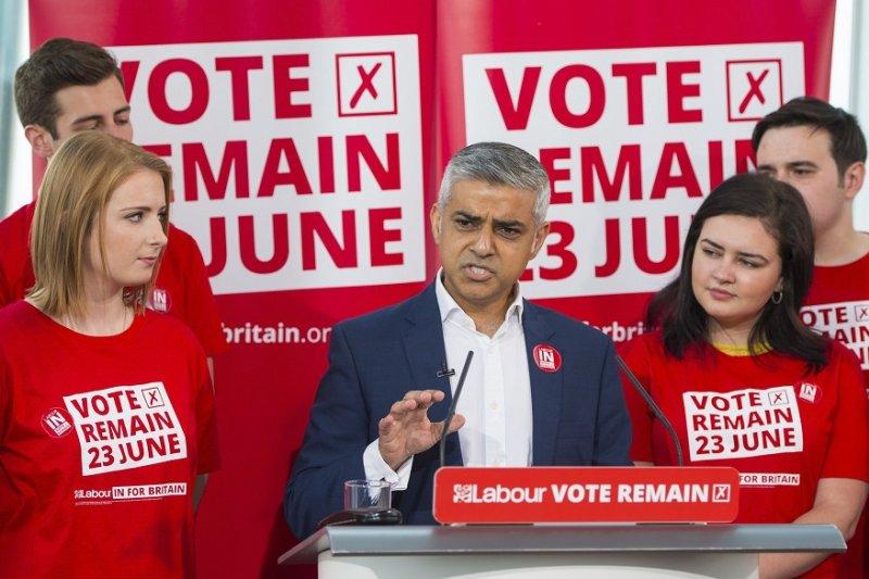 工黨籍的倫敦市長漢恩9日出席親歐陣營宣傳活動(美聯社)