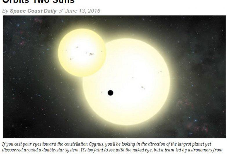 美國國家航空暨太空總署(NASA)天文團隊,透過克卜勒(Kepler)太空望遠鏡發現太陽系外最大的「環雙星行星」。(圖取自nasa官網)