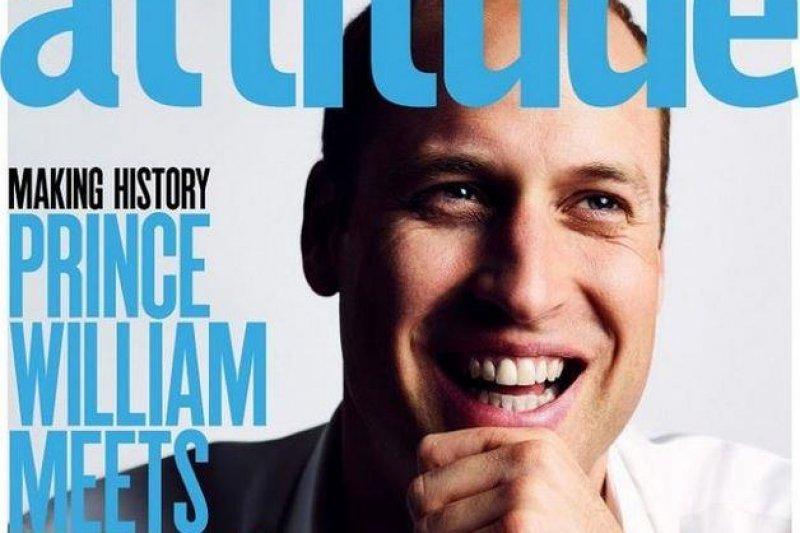 威廉王子為同志雜誌拍攝封面,成為第一位登上同志期刊封面的王室成員。(取自Attitude網站attitude.co.uk)