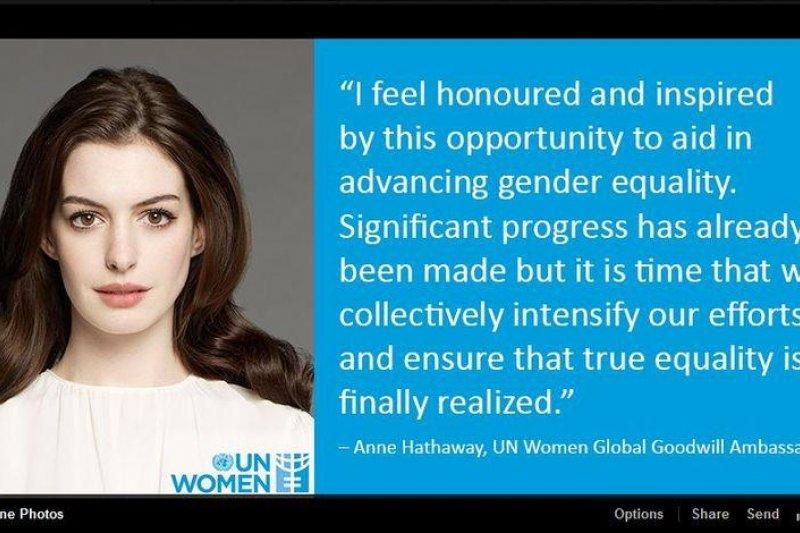 聯合國婦女組織15日任命奧斯卡影后安海瑟薇為親善大使,提醒世人重視職業婦女所承受的不公平壓力。(圖取自UN Women臉書)