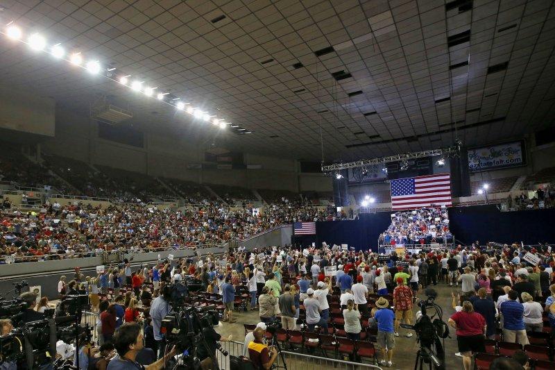 川普在亞利桑納州鳳凰城的造勢大會。(美聯社)
