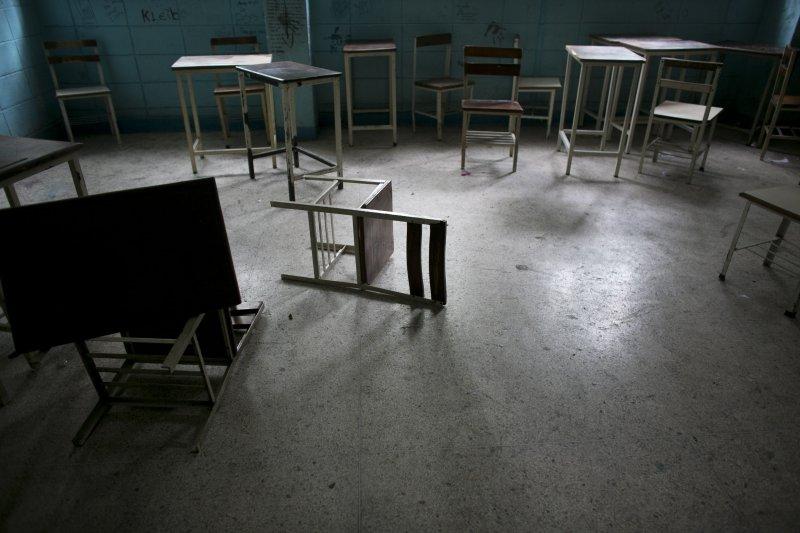 由於委內瑞拉許多老師與同學都缺課、甚至根本沒有註冊,像這樣的空教室也越來越多。(美聯社)