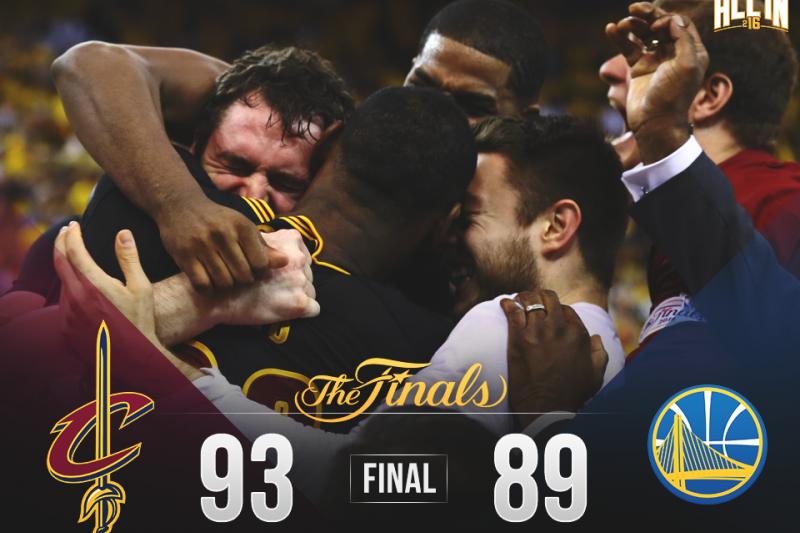 NBA冠軍賽騎士擊敗勇士,隊史首奪總冠軍!(取自Cleveland Cavaliers臉書)