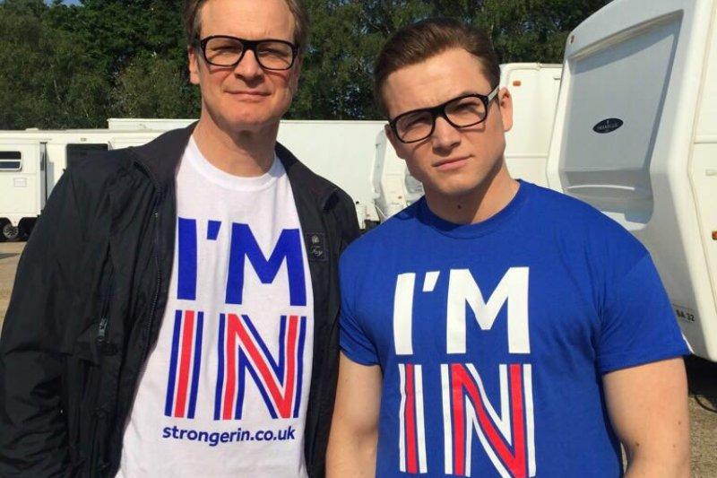 英國男星柯林佛斯、泰隆艾格頓大方支持英國續留歐盟。(圖/取自推特)