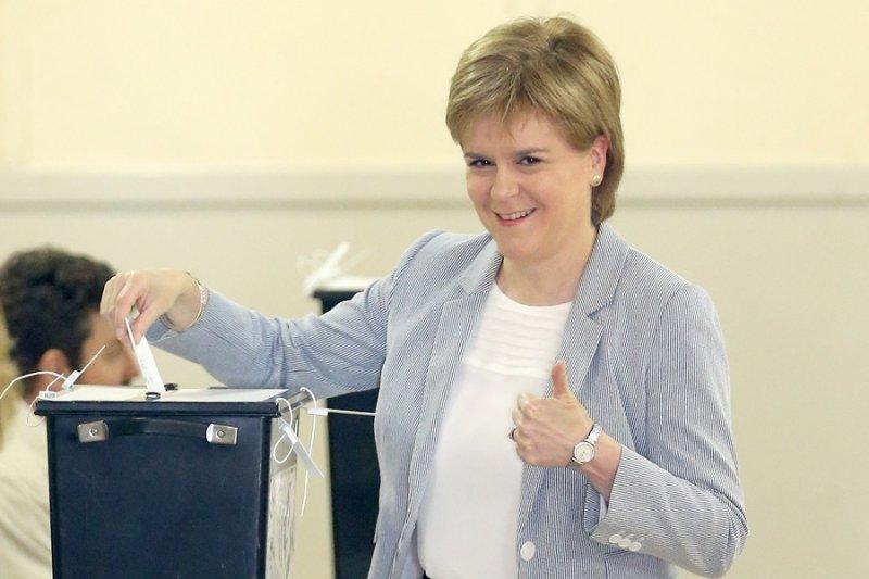 支持續留歐盟的蘇格蘭首席部長史特金(美聯社)
