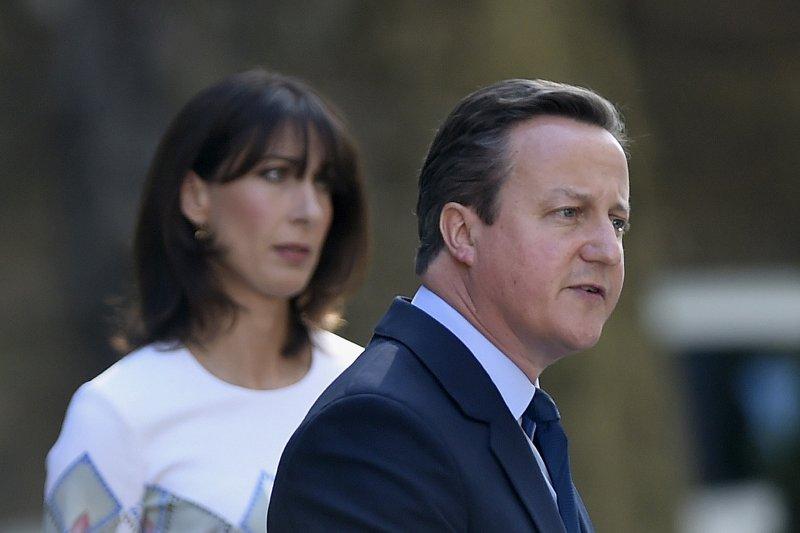 英國首相卡麥隆(David Cameron)與夫人莎曼珊(Samantha)(美聯社)
