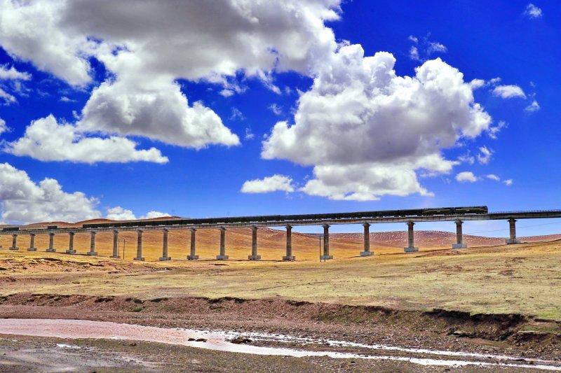青藏鐵路線那曲段上穿行的貨運列車(新華社)