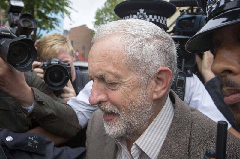 英國工黨黨魁柯賓(Jeremy Corbyn)。(美聯社)