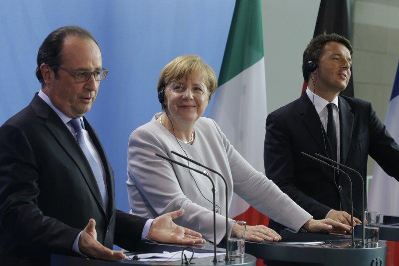法國總統奧朗德、德國總理梅克爾、義大利總理倫齊。(美聯社)