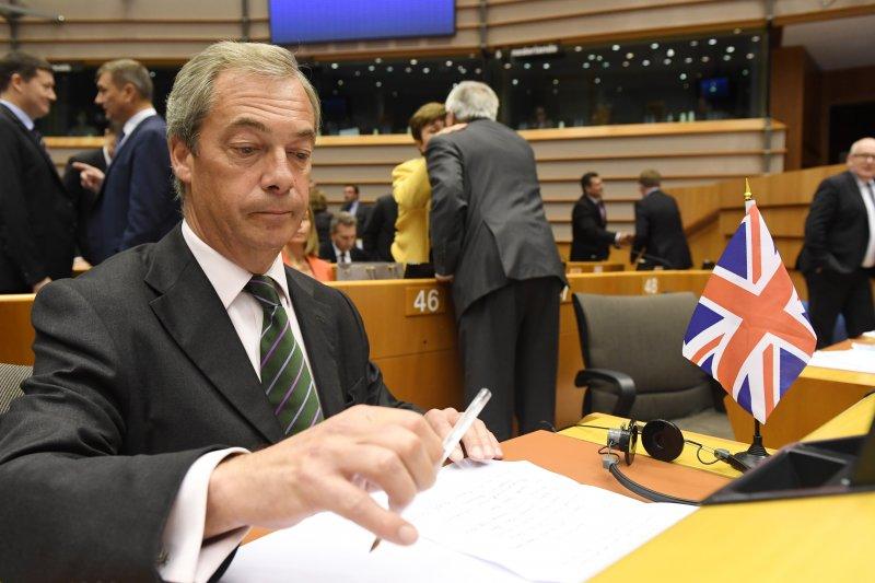法拉吉在歐洲議會。(美聯社)