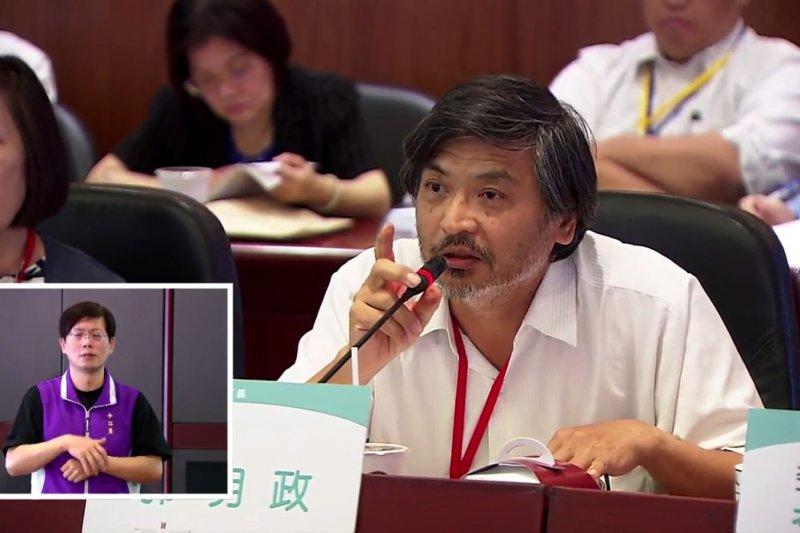 政大法學院前院長、法律系教授郭明政表示,對如性別平等廁所等校內性平措施的落實上指出,像他在德國留學時,宿舍是不分男女的,政大在這方面不能落後。(資料照,翻攝年改會網路直播)