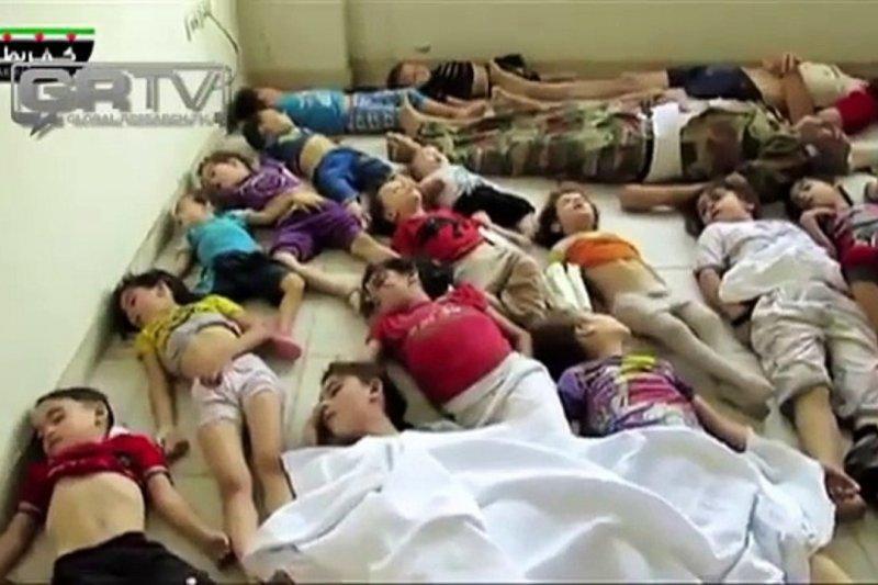 2013年8月21日,敘利亞政府軍以化學武器攻擊古塔(Ghouta),死難者有許多是兒童(取自網路)