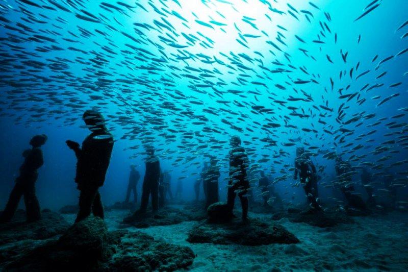 西班牙摩洛哥的加納利群島附近,就有一個海底美術館(圖/MuseoAtlantico)