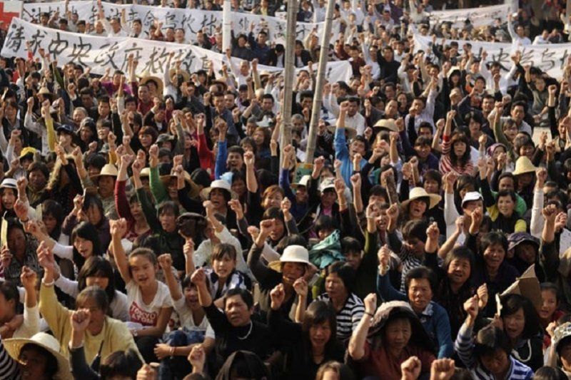 烏坎2011年的土地抗爭(資料照/新華社)
