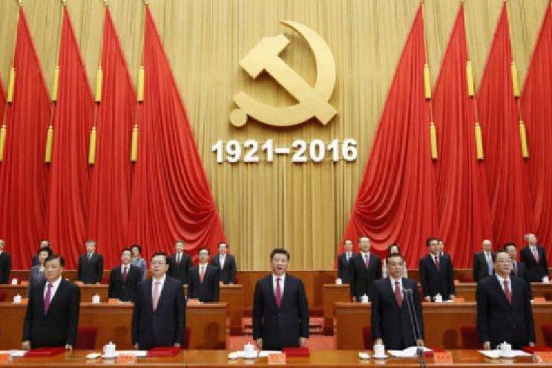 習近平和其他中共領導人參加了在人民大會堂舉行的中共建黨95週年大會。(BBC中文網)