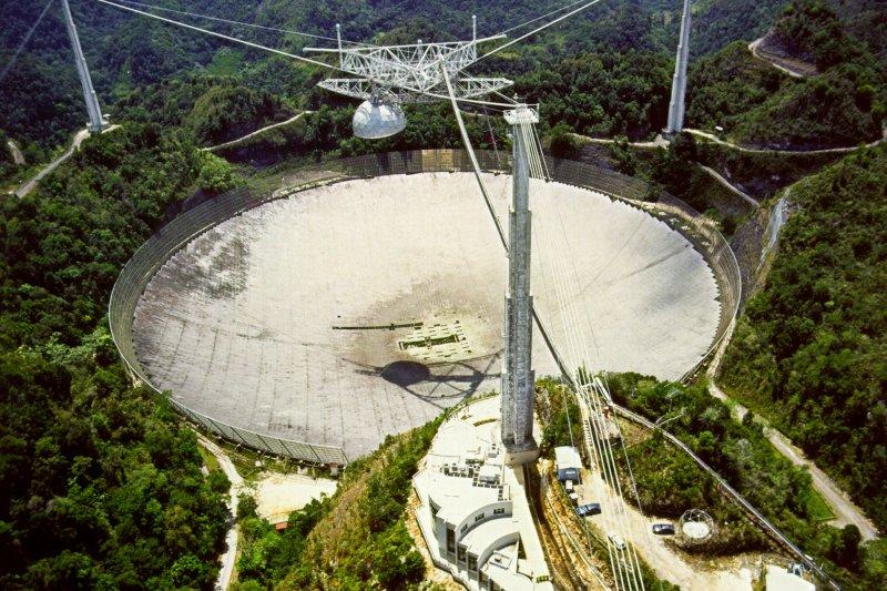 波多黎各(Puerto Rico)阿雷西波天文台(Arecibo Observatory)(H. Schweiker/WIYN and NOAO/AURA/NSF.@Wikipedia, Public Domain)