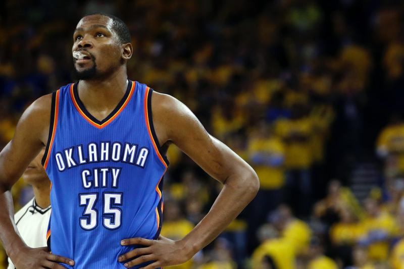 被視為最具價值的NBA自由球員杜蘭特,宣布加入金州勇士隊,震驚籃壇。(美聯社)