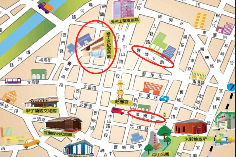 宜蘭市公所「百巷慢弄生活網」,康樂路到舊城北路一帶為主要規劃區。(取自宜蘭市公所)
