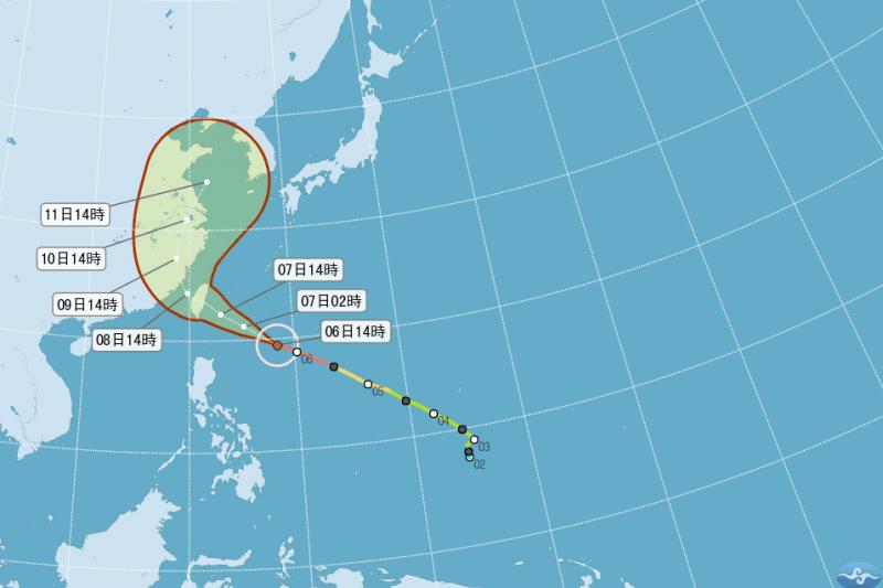 氣象專家吳德榮說,尼伯特颱風未來強度將略為增強,侵台時強度很強、對台威脅大。(取自中央氣象局網站)