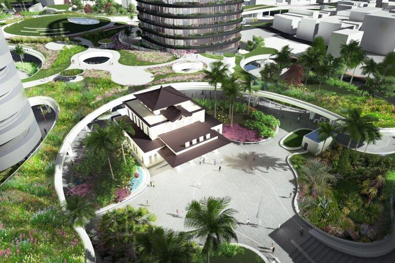 歷史建築的老車站重新回到站區的中軸線,由兩翼的綠色頂棚所環抱。(Mecanoo事務所提供)