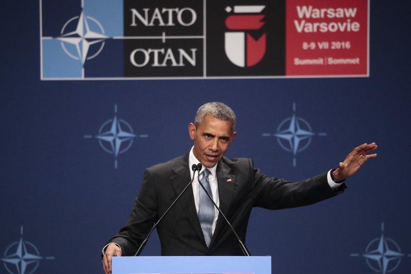 北約(NATO)華沙峰會,美國總統歐巴馬發表談話(美聯社)