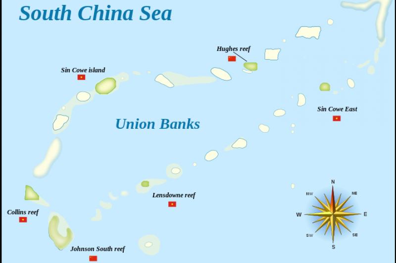 南海上的九章群礁(Union Banks),中國及越南佔島示意圖。(圖片來源:維基百科)