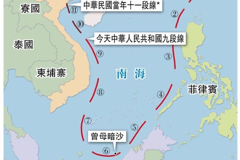 中華民國南海11段線(U型線)與中國南海9段線(取自網路)