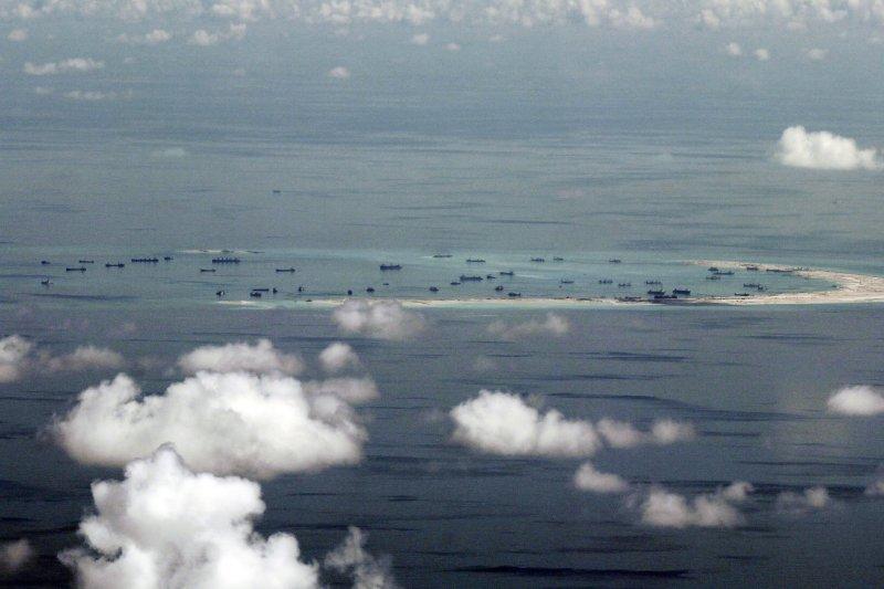 南沙群島的美濟礁。(美聯社)