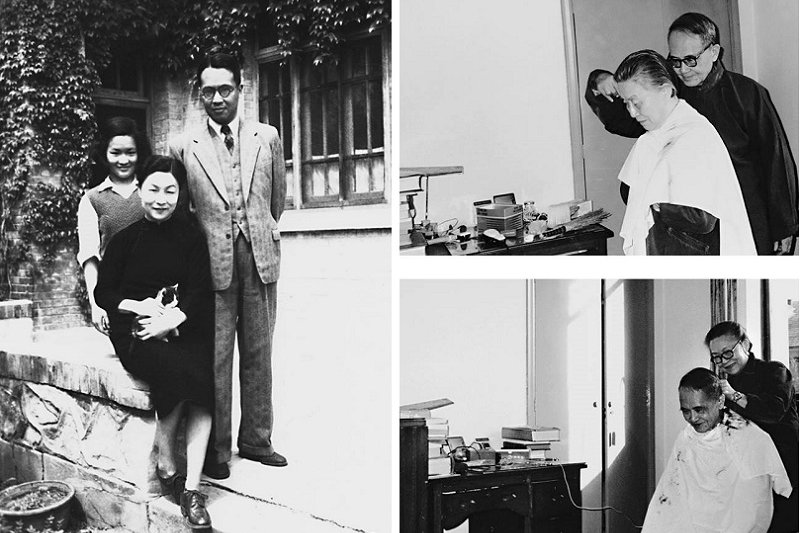 1950年,錢楊與愛女錢瑗於清華大學宿舍(我們仨,左);錢楊相互理髮,楊绛能用電推子,錢鍾書會用剪刀(右)(時報出版提供)