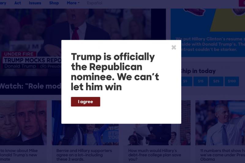 川普獲得共和黨提名,希拉蕊競選網站立刻放上標語,呼籲支持者阻止川普進白宮。(截自希拉蕊競選網站)