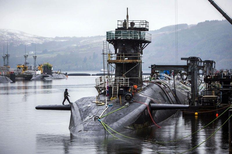 英國現役搭載三叉戟2型彈道飛彈的警戒號(HMS Vigilant)先鋒級核動力潛艦。(美聯社)