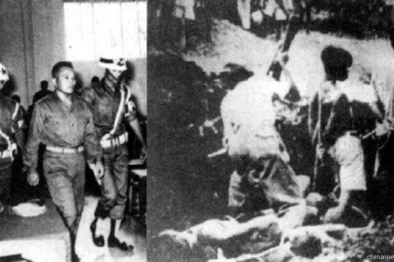 左:親蘇哈托的將軍在政變失敗後受審。右:印尼共產黨人被右翼軍人處決。(BBC中文網)