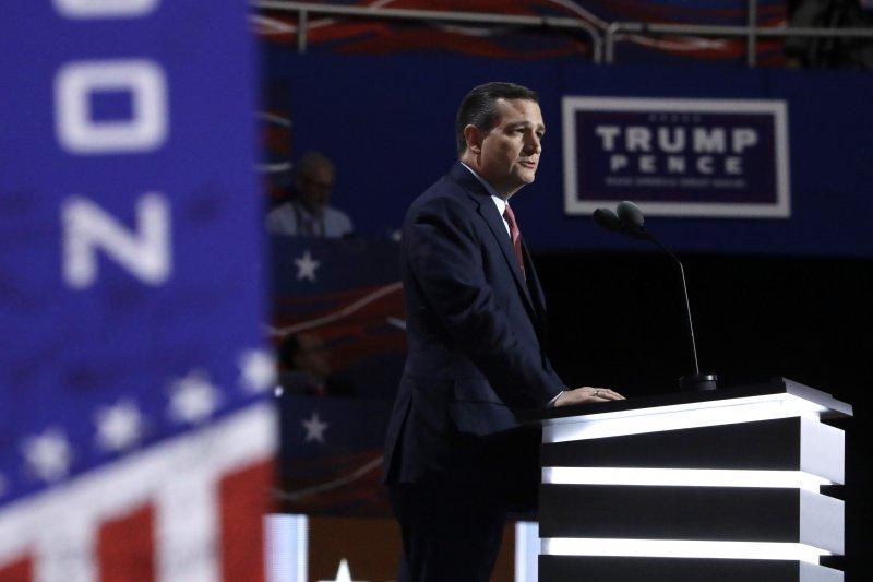 2016年美國總統選戰共和黨全國大會,德州聯邦參議員克魯茲(Ted Cruz)20日發表演講但拒絕表態支持候選人川普。(美聯社)