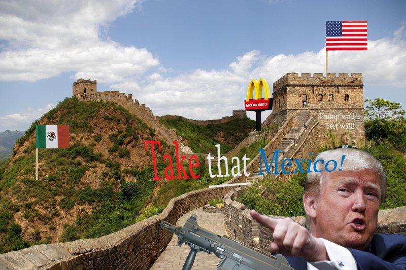 川普熱愛築牆,美國網友熱情KUSO(取自網路)